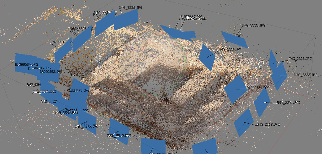 Point clouds generated with the Agisoft Photoscan program