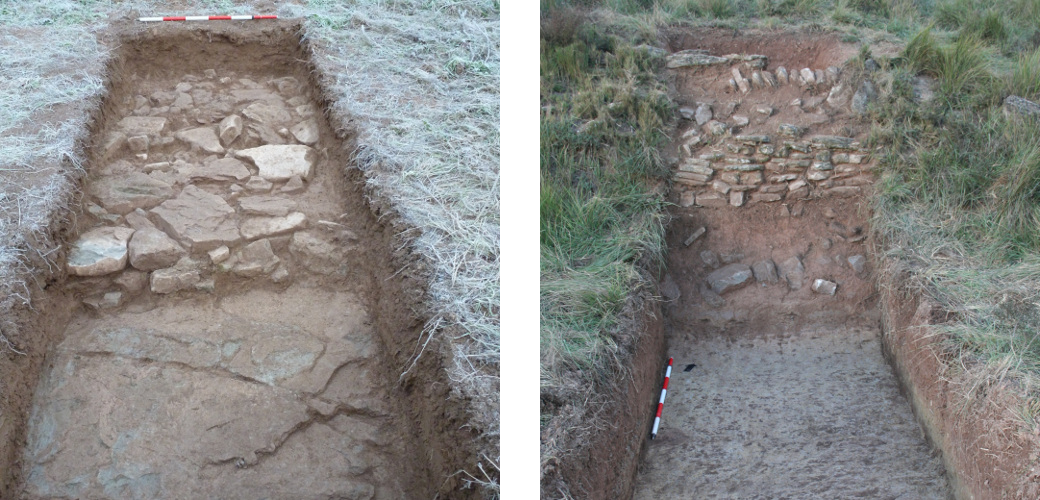 [left] Survey 20. Section of Late Roman Republican city wall. Survey 23: View of the test trench at the end of the excavation