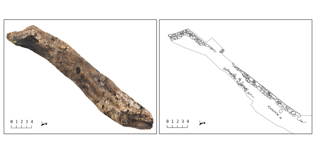 [left]. Photogrammetric study and [right] drawing of the excavations at the end of the 2014 season