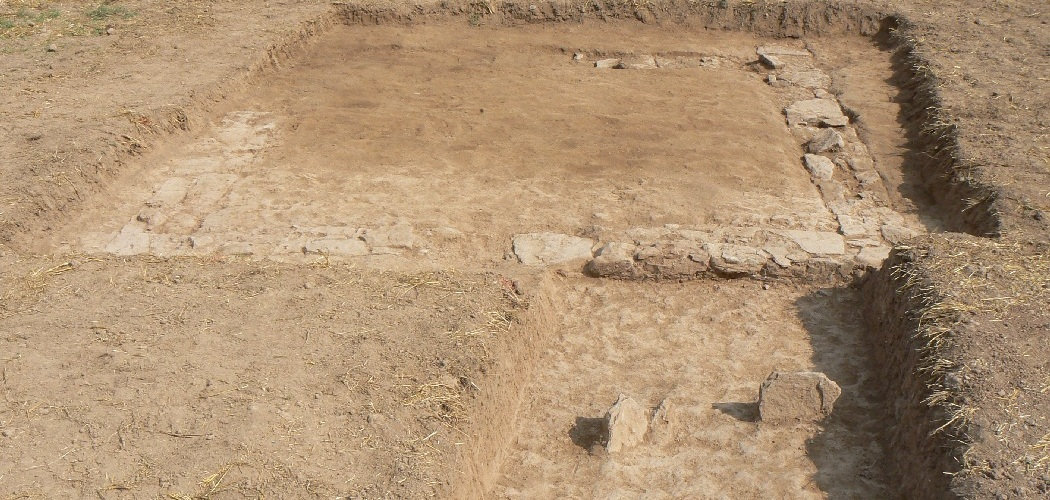 South-west section of the central building after the tops of the walls have been marked out