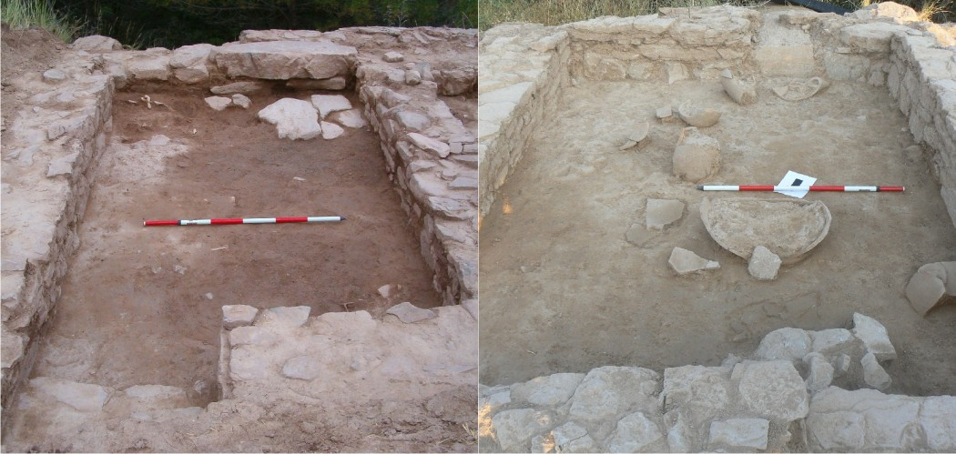 [left] Various fallen materials (remains of animals, metal objects, etc.) above the living level. [right] Fallen dolium and amphora above the ruins of a ceiling or a first floor