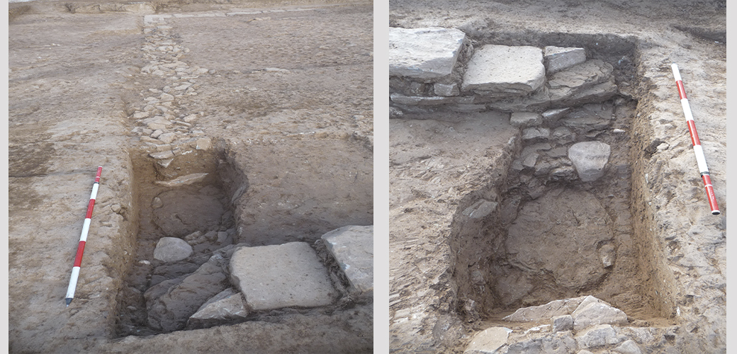 Two views of the test trench dug at the south-west corner of the building. The original wall can be seen damaged below the layer of small stones with which the robber trench was filled in