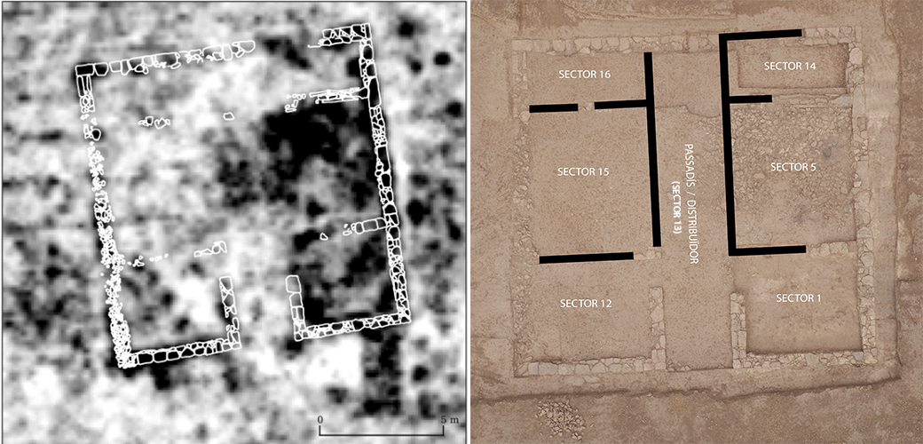 [left] Drawing of the structures located superimposed on the ground-penetrating radar data. [right] Interpretation of the located structures superimposed on a photograph taken from a drone.