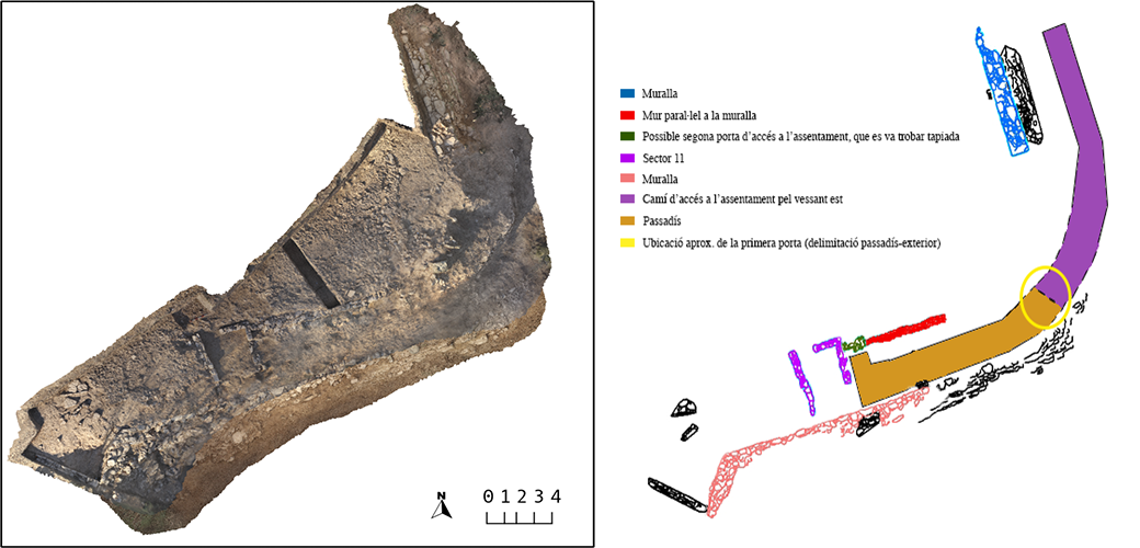 [left]. Photogrammetric study at the end of the 2014 season. [right] Location of various excavated structures