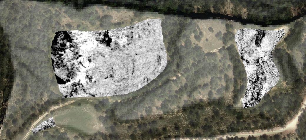 Mapa de reflectivitat georadar: els elements constructius i la roca mare estan representats en negre (dades de SOT Prospecció Arqueològica)