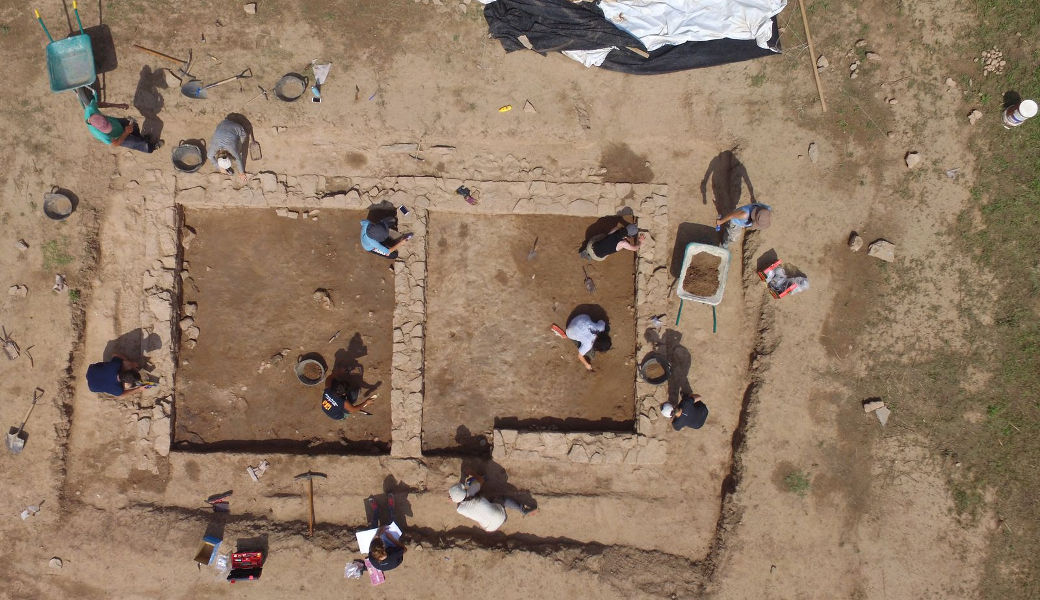 Bird's-eye view of the two areas excavated during the 2017 and 2018 campaigns