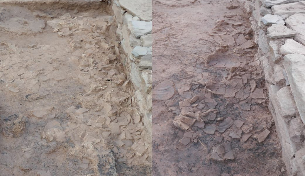 Scattered amphoras. On the left, just at the boundary; on the right, once the upper part of the pieces had been lifted and their bases uncovered.