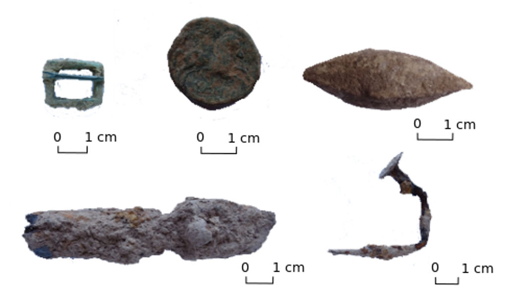 Top, from left to right: bronze buckle, Iberian coin and lead sling projectile. Bottom, from left to right: tip of a catapult projectile and iron key.